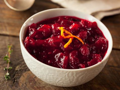 Photo of a bowl of cranberry sauce