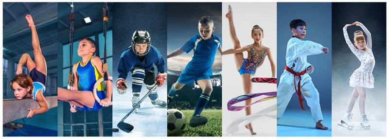 A collage of children in sports