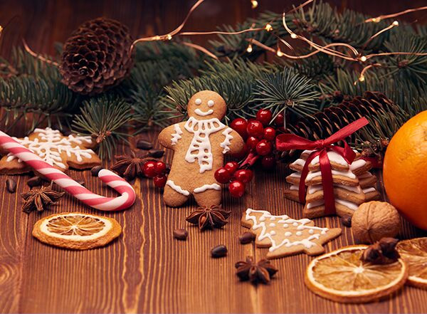 Photo of holiday treats and decorations